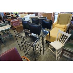 4 LEATHER AND METAL BAR STOOLS