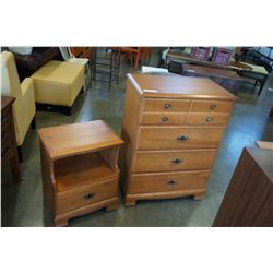 MAPLE HIGHBOY DRESSER AND NIGHTSTAND