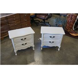 PAIR OF WHITE FRENCH PROVINCIAL 2 DRAWER NIGHT STANDS