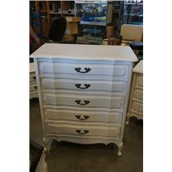 WHITE 5 DRAWER FRENCH PROVINCIAL HIGHBOY