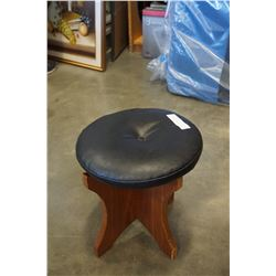 MID CENTURY TEAK AND LEATHER STOOL