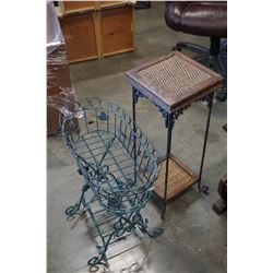 2 TIER METAL AND WICKER SHELF W/ WIRE BASKET PLANTER