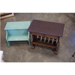 RUSTIC 1 DRAWER END TABLE AND PAINTED STOOL