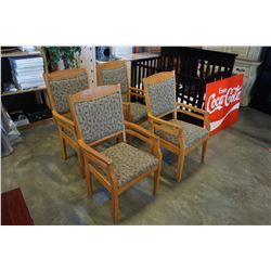 SET OF 4 WOODEN DINING CHAIRS W/ VINE MOTIF CUSHIONS
