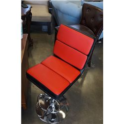 ASHLEY FLOOR MODEL RED AND BLACK GAS LIFT BARSTOOL, RETAIL $149
