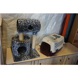 LEOPARD PRINT CAT TREE AND PET CARRIER