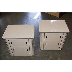 PAIR OF MODERN NIGHTSTANDS W/ BLACK TRIM