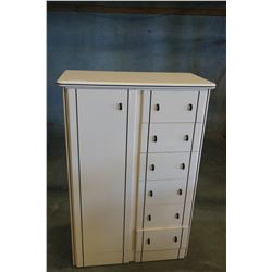 MODERN HIGHBOY DRESSER W/ BLACK TRIM