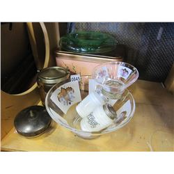 LOT OF GLASSWARE, URANIUM GLASS BOWL, ANTIQUE BISCUIT BARREL, LIDDED DISH