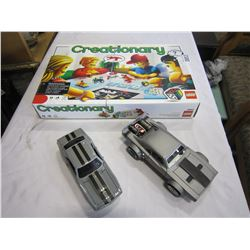 LEGO CREATIONARY GAME AND 2 MUSCLE CAR TOYS