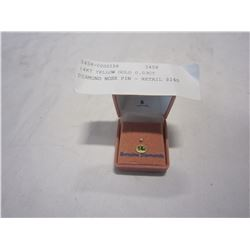 14KT YELLOW GOLD 0.03CT DIAMOND NOSE PIN - RETAIL $240