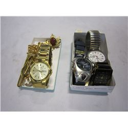 2 TRAYS MENS WATCHES AND CUFFLINKS ETC
