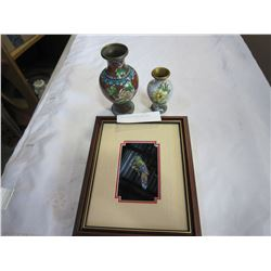 2 CLOISONNE VASES AND BIRD