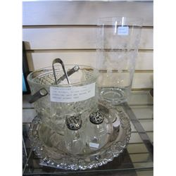 ICE BUCKET, SILVER PLATE, STERLING SALT AND PEPPER, AND ARTIST SIGNED VASE