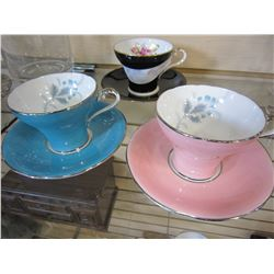3 AYNSLEY CUPS AND SAUCERS