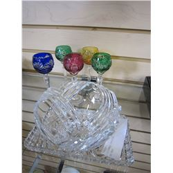 5 COLOURED CRYSTAL CUPS W/ BOW AND TRAY