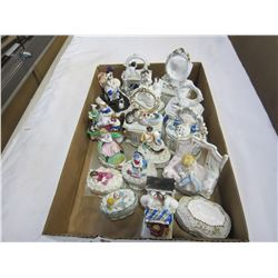 TRAY OF ANTIQUE STAFFORDSHIRE DRESSER BOXES