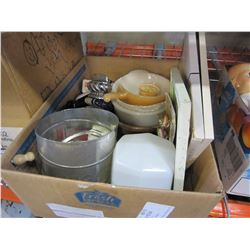 BOX OF TABLE LIGHTER, PIP CLEANER, AND VINTAGE COLLECTIBLES AND MILK GLASS AND OTHER COLLECTIBLES