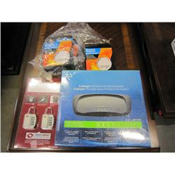 CISCO LINKSYS WIRELESS -N HOME ROUTER SEALED NEW IN BOX W/ NEW LUGGAGE LOCKS & 3 SMOKE ALARMS