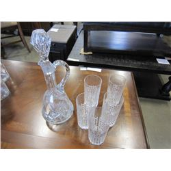 5 CRYSTAL GLASSES & PINWHEEL DECANTER