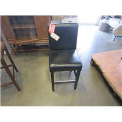 "NEW 24"" BLACK LEATHER COUNTER STOOL - WHOLESALE PRICE $175, CURRENT RETAIL $269"
