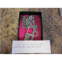 TIFFANY AND CO STERLING LOCK PENDANT AND STERLING CHAIN