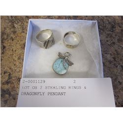 LOT OS 2 STERLING RINGS & DRAGONFLY PENDANT