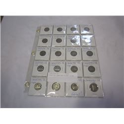 SHEET OF CANADIAN 5 CENT COINS