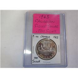 1963 CANADIAN SILVER DOLLAR .800 SILVER