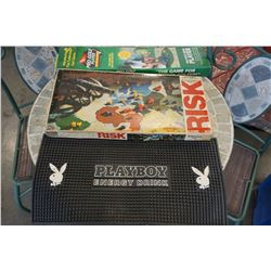 BAR MAT, VINTAGE RISK GAME WITH WOOD PIECES AND BATHROOM GOLF GAME