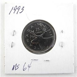 1993 Canada 25 Cent. MS64.