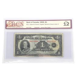 Bank of Canada 1935 One Dollar Fine 12 BCS