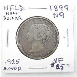 (LUN 17) NFLD 1899 Half Dollar N9, 925 Silver (VF)