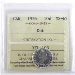 Canada 1956 Silver 10 Cent MS62. ICCS.