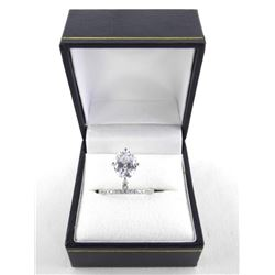 925 Silver Ring, Bead Set Band Oval Swarovski Elem