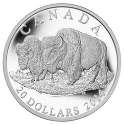 2014 $20 The Bison: The Bull And His Mate - Pure Silver Coin