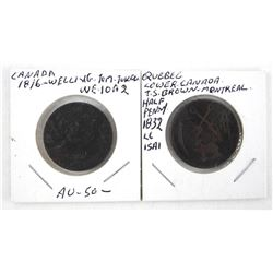 Lot (2) Tokens - Canada 1816 Quebec 1832