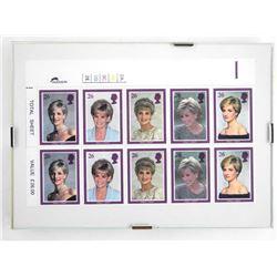 Princess Diana Stamp Sheet Framed