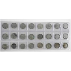 Lot (24) Silver Ten Cents1937-1957 with Variety