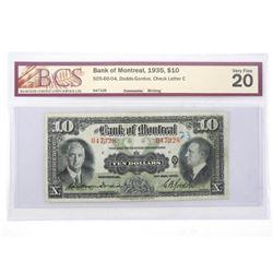 Bank of Montreal 1935 Ten Dollar Note. VF20. BCS