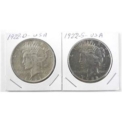 Lot (2) 1922 D and 1922 S Silver USA Peace Dollars
