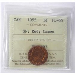 1955 Canada 1 Cent PL655 - SF; Red Cameo ICCS.