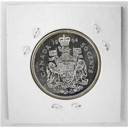 1964 Canada Silver 50 Cent MS64. Heavy Cameo