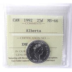 1992 Canada 25 Cent ICCS. Alberta MS-66