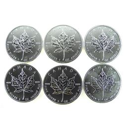 Lot (6) .9999 Fine Silver $5.00 2011 Maple Leaf