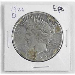 1922D US Silver Peace Dollar. EF40