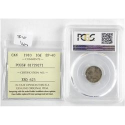 1910 Canada 10 Cent PCGS AU-53. ICCS. EF40