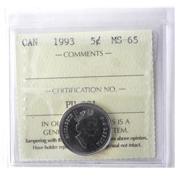 1993 - 5 cents, MS-65 [ICCS Certified]