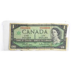 Bank of Canada 1954 One Dollar Modified Portrait.