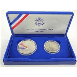 Lot (2) 1886-1986 Liberty U.S. Coins